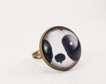 Kawaii Panda Ring, Cute Bear Jewelry, Black And White