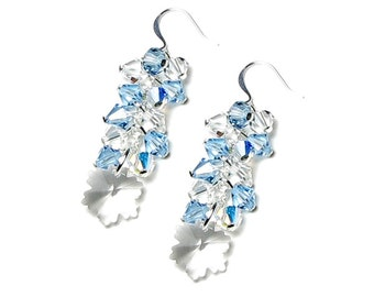 Clear Swarovski Crystal Silver Snowflake Earrings Aquamarine Frozen Winter Ice Snow Jewelry Sisters March Birthstone Gifts for Teacher Women