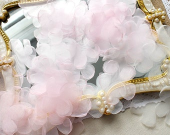 "200pcs 5cm 1.96"" wide ivory/pink bridal wedding dress tulle gauze lace petal appliques patches b4e2 free ship"