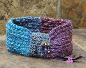 Knitted headband , Boho ear warmer , Hair accessories , Hippie hairband , Stylish ear warmer ,Hairband , Fashion accessory , Head turban.