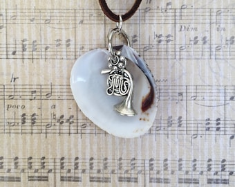 Antique Silver French Horn Charm Necklace with Shell and Leather Cording