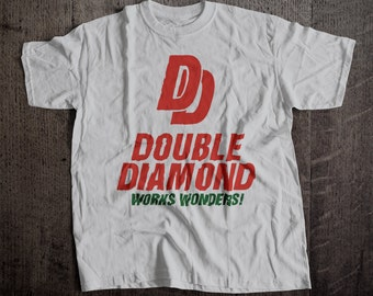 Double Diamnond Beer Works Wonders T-Shirt | Ringspun Unisex and Ladies Fit Tee | Vintage Bar and Brewery Label Clothing