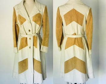 Vintage 70's Leather & Suede Trench Coat l M