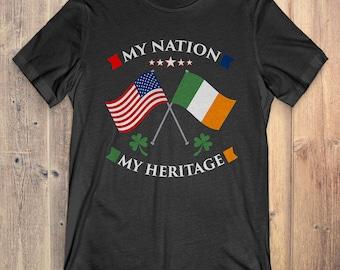 Irish T-Shirt Gift: My Nation My Heritage American & Irish T-Shirt