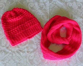 Neon pink slouchy hat and infinity scarf set