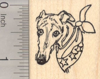 4th of July Greyhound Rubber Stamp, Patriotic Dog  D27701 Wood Mounted