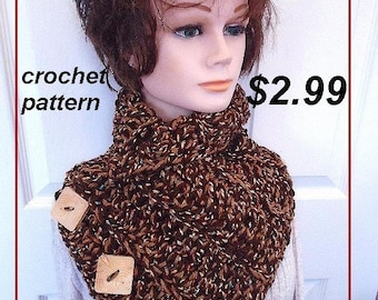 CROCHET PATTERN - Hectanooga wrap cowl - 3 button cowl - easy beginner - scarf, neckwarmer, shawl, #750