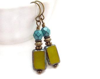 Green Glass Earrings - Turquoise Aqua Avocado - Picasso Czech Glass - Petite Drop Earrings - Yoga Jewelry