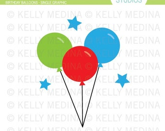 Balloons - Clip Art Single - Digital Elements Commercial use for Cards, Stationery and Paper Crafts and Products