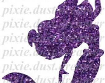 The Little Mermaid Ariel Purple Glitter Pre-Cut DIY Printable Iron On Transfer