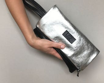 Silver leather clutch bag, Silver Foldover Clutch, Modern Clutch Purse, Silver Handbag, Silver Evening Clutch, Silver Gift for Her