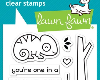 Lawn Fawn Clear Photopolymer Rubber Stamp set - one in a chameleon