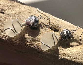 White Sea Glass and Silver Shell Earrings