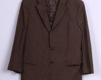 Scabal Mens XL Blazer Brown Wool Mahair Blend Single Breasted Dortmund Jacket