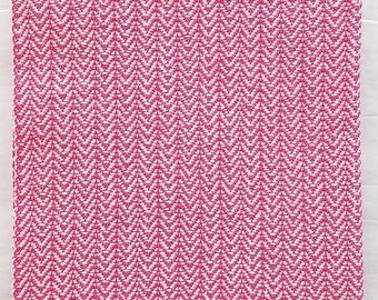 handwoven double-strand point twill towel white and hot pink