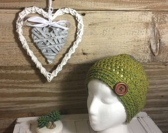 Handmade Crochet Knit Soft Warm Simple Slouch Winter Hat/Toque/Beanie - Green