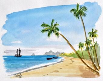 original watercolor landscape Martinique - 24 x 30, salt
