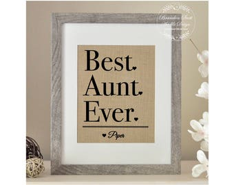 Best Aunt Ever Mother's Day Gift, Gift from Niece Nephew, Auntie Gift, Gift for Aunt, Burlap Mother's Day Gift, Gift for Aunt