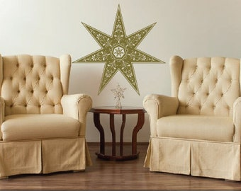 Seven Pointed Star  Large Wall Decal - Ornate Details