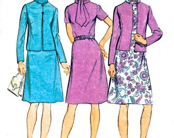 Misses' and Women's Dress and Jacket - Simplicity 5394 Dress Pattern - Vintage Sewing Pattern - Bust 34""