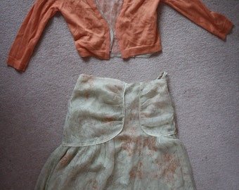 Designer outfit cardigan and silk skirt Noli pistachio and apricot S