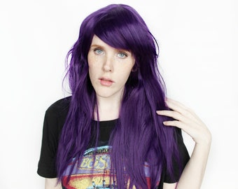 Purple wig | Long Purple wig | Purple Cosplay wig, Purple Scene Emo wig | Wavy wig | Violet Lights