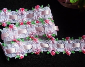 White Seafoam Green red ombre rosebud insertion venise sewing trim price for 1 yard