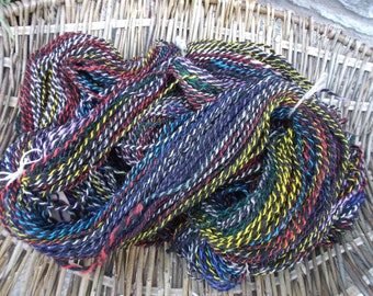 Handspun Rainbow Coloured Corriedale and Zwartbles Yarn for Knitting, Crochet and Crafts