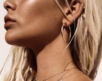 Big Hoop Earrings, Gold Plated, Gold Hoop earrings, Hoop earrings, Gift for her, Minimalist Jewelry, Minimalist earrings