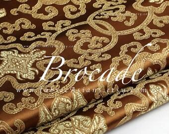 Brown brocade buy Asian fabric by meter