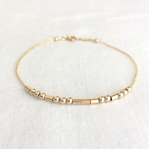 Morse Code Bracelet, Mother's Day, Friends Bracelet, Bridesmaid Gift, Sisters Gift, Delicate Chain, Sterling Silver, 14K Gold Filled