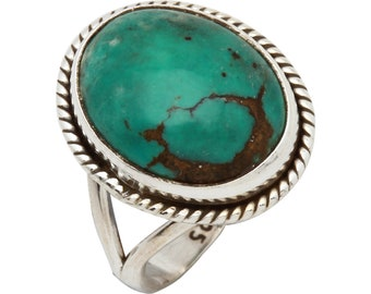 Blue Turquoise Ring, Natural Blue Copper Turquoise, Turquoise Silver Ring, Navajo Ring, Sterling Silver Turquoise Ring,Statement Ring,    79