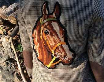 Women's jacket size 36, embroidered horse