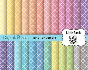 70% OFF SALE Pastel Quatrefoil Digital Paper - Digital Scrapbooking  - Instant Download - D237