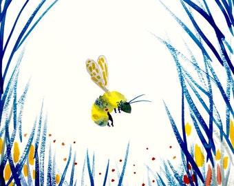 """Bumble Bee in Fall Giclee Print 8""""x10"""""""