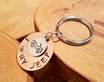 Mini Jeep hand stamped copper and aluminum keychain ... perfect for your spare key or when you want something pocket sized