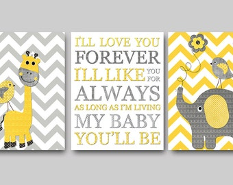 Yellow Gray Digital Download Print Baby Room Decor Nursery Printable Art Instant Download Baby Boy Nursery Decor set of 3 8x10 11X14
