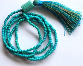 Long Tassel Necklace - Aqua Beaded - Ladies Statement Jewelry