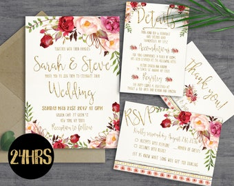 Printable wedding invitation - Wedding invitations set - Printable wedding invitation suite - Wedding invites template download - invite set