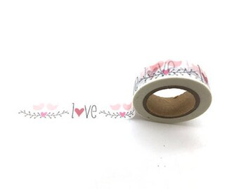 Love roll of 10 m of masking tape - Washi tape with birds