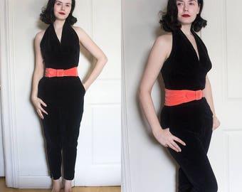 1950s Black Velvet Set with Halter Top, Black Ankle Pants and Belt