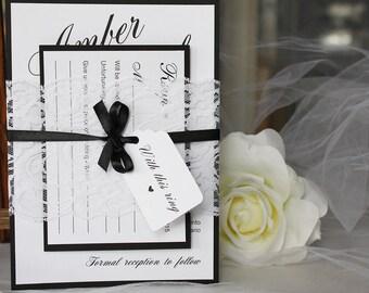 Classic Black & White Lace Wedding Invitations, Lace Wedding Invitations, Classic Wedding, Vintage Wedding, Black and White Wedding