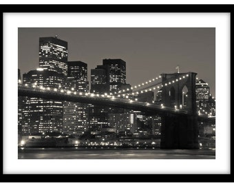 Brooklyn Bridge at Night, New York City. Black and White Fine Art Photograph printed on 308gsm Hahnemuhle fine art paper (Unmatted)