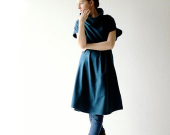 Blue dress, Sweater dress, Teal dress, Plus size dress, Cowl dress, Tunic dress, Wool tunic, winter dress, Womens clothing, Maternity, Cozy