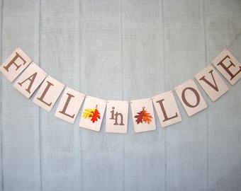 fall in love banner, love banner, fall banner, fall wedding banner, autumn wedding banner, fall engagement banner, autumn engagement banner