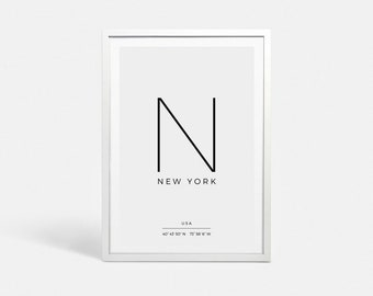 New York City print NYC art New York print New York art GPS print Coordinates print New York poster Coordinates poster New York City signs