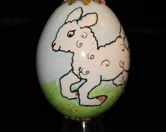 Hand decorated Blown Egg Ornament with Lambs