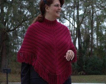 Knitted Ladies Poncho in Warm Brick Red