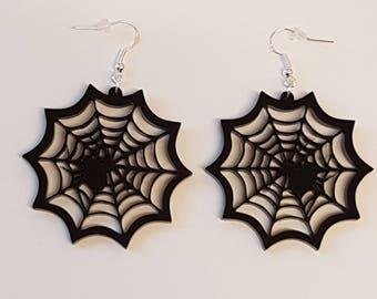 Spider in Web Earrings - Acrylic