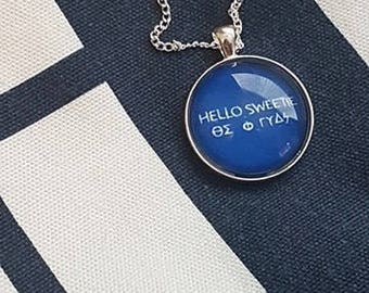 """Doctor Who -inspired River Song Necklace Pendant   """"Hello Sweetie"""" in TARDIS Blue   Silver-plated Chain and Lobster Clasp"""